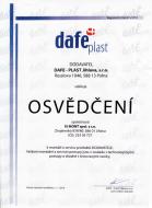 Osvědčení o způsobilosti k montáži a servisu produktů společnosti Dafe-Plast Jihlava s.r.o.
