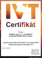 Certifikát odborné způsobilosti k instalaci tepelného čerpadla IVT