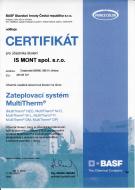 Certifikát o absolvování školení na Zateplovací systém MultitTherm společnosti BASF