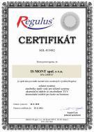 Certifikát oprávněnosti montáže produktů společnosti Regulus spol. s r.o.