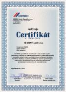 Certifikát způsobilosti k provádění litých podlah ze směší od společnosti CEMEX