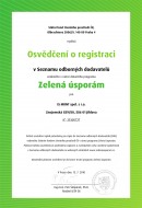 Osvedcení o registraci v Seznamu odborných dodavatelů vedeného v rámci dotacního programu Zelená úsporám